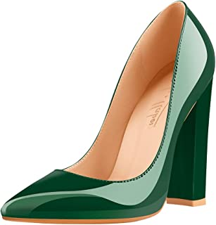 Women's Pointed Toe Block Chunky Classic High Heels Slip On Shoes Wedding Office Party Pumps