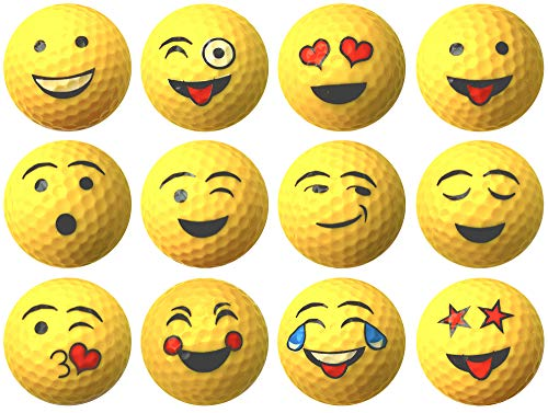 Daft Golfer Yellow Emoji Professional Quality High-Visibility Distance Golf Ball Set of 12 for Course Play, Practice, Gifts, and More (One Dozen)