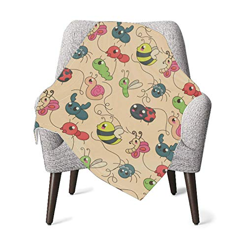 XCNGG Mantas para bebés edredones para bebésBaby Blanket Cute Autumn Cartoon Bugs Cute Blanket Receiving Blanket for Toddler Bed, Crib, Stroller, Nursery Bedding Essentials 30x40in
