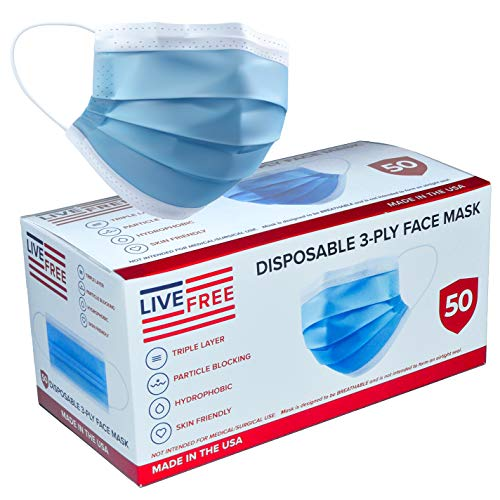 Disposable Blue Face Masks - MADE IN USA - Premium 3 Ply (50 pack)