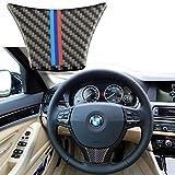 Xotic Tech - Pegatina de Fibra de Carbono para Volante de BMW Serie 5 GT F07 F10 3,34 Pulgadas x 2,16 Pulgadas / 3,46 Pulgadas x 1,69 Pulgadas