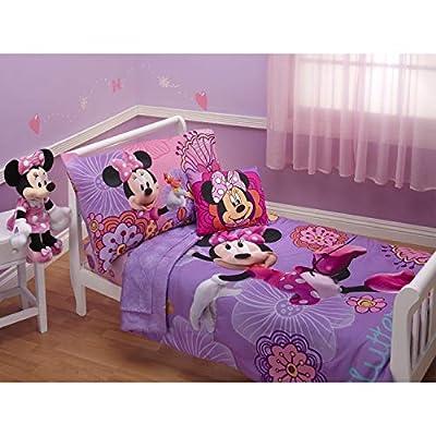 Disney 4 Piece Minnie's Fluttery Friends Toddler Bedding Set, Lavender by Crown Crafts Inc