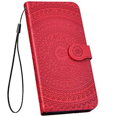 Ysimee kompatibel mit Samsung Galaxy A50 Hülle 3D Bookstyle PU Leder Schutzhülle Wallet Flip Ledertasche Case Handyhülle Lederhülle Handy Tasche Schale [Standfunktion] [Kartenfach], Mandala Rot
