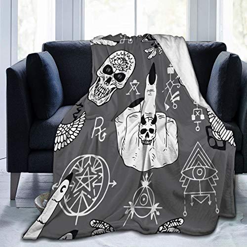 PANILUR Flanell Fleece Soft Throw Decke,Magier Finger,Fick Dich Symbol,Schädel und mysteriöse Objekte,für Sofas Sofa Stühle Couch Leicht,warm und gemütlich 204x153cm
