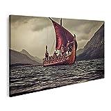 Cuadro en lienzo Grupo de vikingos nadando en Drakkar con las montañas al fondo en el mar Cuadros Modernos Decoracion Impresión Salon