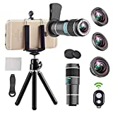 Phone Telephoto Lens, 4 in 1 Cell Phone Camera Lens,12x Telephoto Lens+ 0.65x Wide Angle Lens + Macro Lens + Fisheye Lens,Clip-On Lenses Compatible for iPhone x 8 7 6 plus, Samsung Smartphone