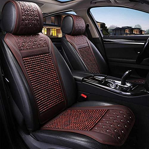 Z-Sseat Auto Holz Perle Sitzkissen Sommer Kühlen Leder Auto Sitz Abdeckung Atmungs Handgemachte Auto Sitz Matte Pad Universal Auto Zubehör,Rot