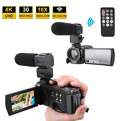 Nannday Video Camera Camcorder with Microphone, 4K Vlogging Camera Recorde HD 3.0 Inch 270 Degree...
