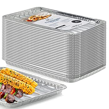 Bold Butcher Grill Liners Disposable Aluminum | 25-Pack Grill Pans for Outdoor Grill | BBQ Broiler Pans | Grilling Trays | Grill Drip Pan | Tray Liner Set of 25 | Grill Pan for Veggies Outdoor Grill