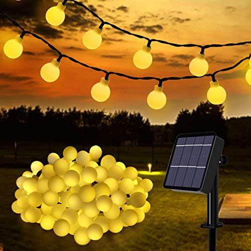 Solar String Lights Outdoor, 100 LED 17M/55Ft Solar Powered Fairy Lights 8 Modes IP65 Waterproof Indoor Outdoor Festival Globe Lights for Garden, Patio, Yard, Christmas, Tree Decoration (Warm White)