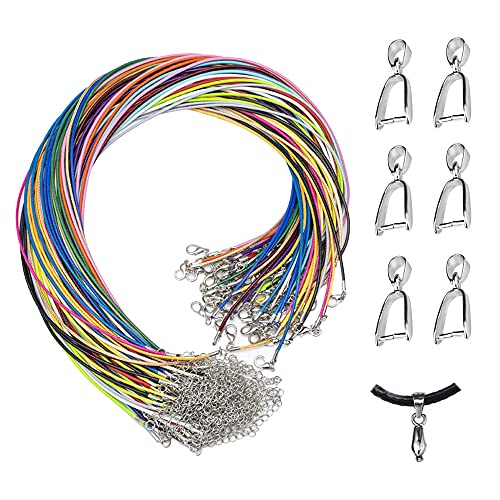 Zasvec Cordón Cuero para Colgante 50 Piezas Cuerda Colgante 1.5mm Cordon para Colgante Cordón de Collar con el Corchete Material para Hacer Bisuteria Cuerda Collar para la Joyería que Hace