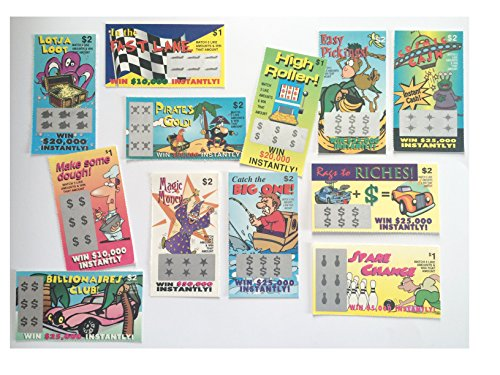 Gag Fake Lottery Tickets - Joke Prank Your Family & Friends with These Scratch Cards - Set of 100...