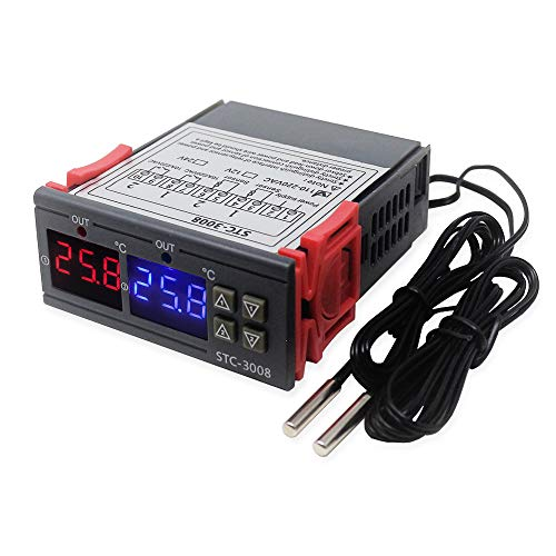 KETOTEK Temperaturregler 12V Digitaler, Temperaturwächter Thermostat, Heizung Kühlung Thermostatregler mit fühler für Inkubator Heizlüfter Lüfter Heizmatte Terrarium