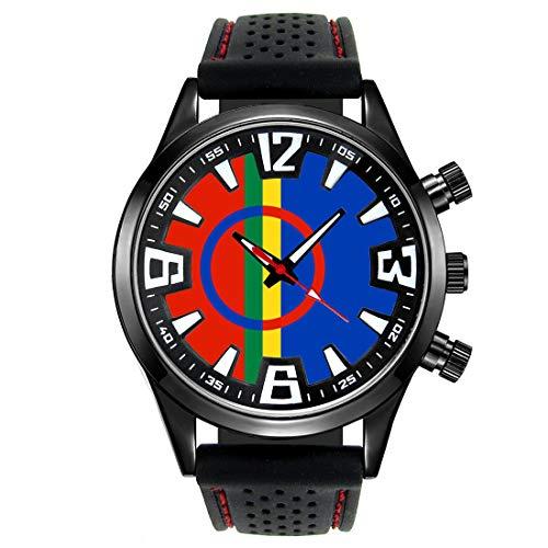 Timest - Bandera de Sami Sami - Reloj para Hombre con Correa de Silicona Negro Analógico Cuarzo SF189