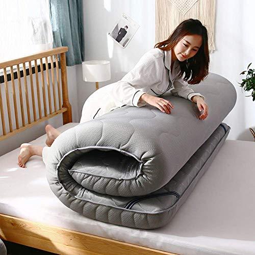 PLLXY Gel Premium Memory Foam Mattress,reversible Tatami Floor Mat,collapsible Thicken Sleeping Pad Quilted Fitted Floor Mattress Futon-gray 120x190x6cm