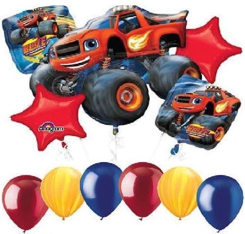 LoonBalloon BLAZE & the Monster Machines Truck 11 Pc Birthday Party Mylar Latex Balloons Set by LoonBalloon