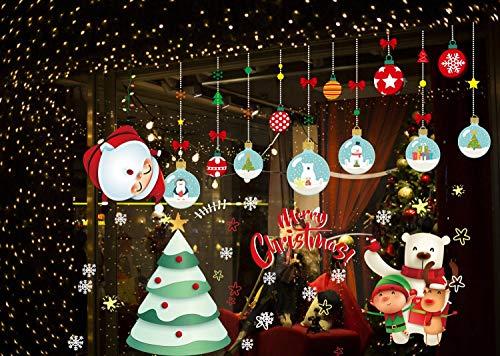 heekpek 12 Blatt Weihnachtsdeko Weihnachten Fensterbilder Fenstersticker Fensteraufkleber Kinder Fensterdeko Selbstklebend Bunte für Schaufenster Vitrinen Glasfronten Deko (D 12 Blatt)