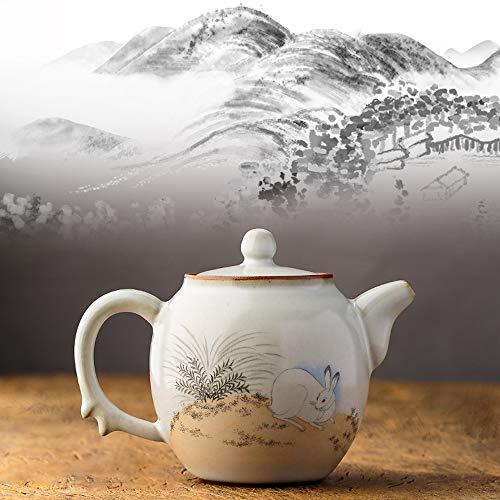MINBAO Keramik-Teekanne Im Chinesischen Stil, Handbemaltes Weißes Kaninchen-Wandbild, Orientalische Sammlerstücke, Geeignet Für Nachmittagstee, Geschenk Für Eltern Und Freunde