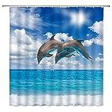 Delfin-Duschvorhänge Ozeanblauer Himmel Weiße Wolken Kreative Badezimmervorhänge Dekor Polyestergewebe Schnelltrocknen Inklusive Haken