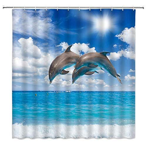 Delphin Duschvorhang, Ozeanblauer Himmel, weiße Wolken, kreative Badezimmervorhänge, Dekoration, Polyestergewebe, schnelltrocknend, 183 x 183 cm, inklusive Haken