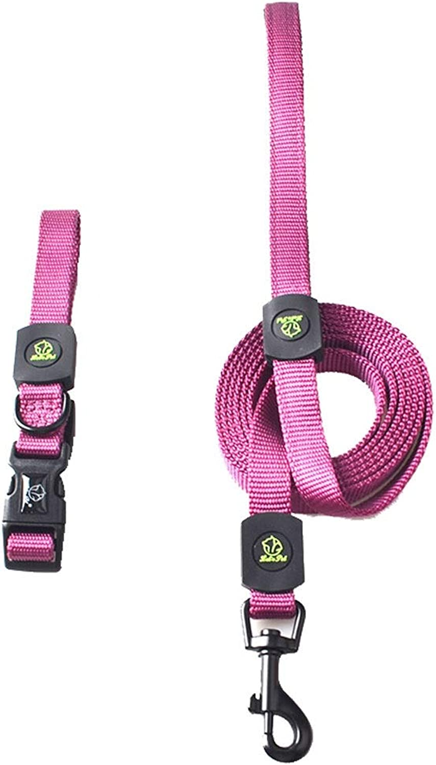 Dog Collar Traction Rope Set Medium and Large Pet Supplies Nylon Dog Chain Dog Leash (color   Purple, Size   M)