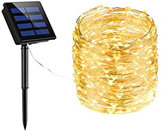 LITOM 200 LED Solar String Lights, 72ft Outdoor String Lights 8 Modes Waterproof Decorative Fairy Light for Patio Garden Gate Yard Party Wedding Christmas Thanksgiving Halloween(Warm White)