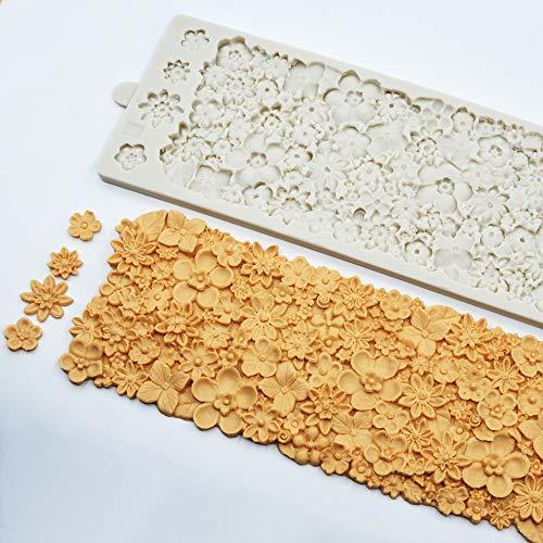 JIANCHEN Molde de Torta 37x12cm Patrón de Flor Grande Mat Mold Mold DE Silicona 3D Molde de Flor Completo Fondant Decoración de Azúcar Herramienta Herramienta para Hornear Herramienta