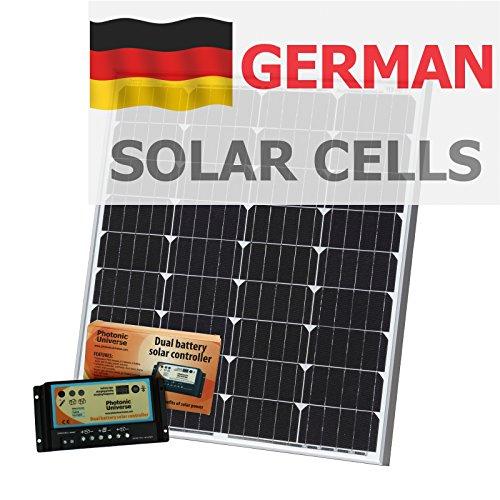 80W 12V Photonic Universe dual batería Kit de carga solar fabricado en alemán células solares, con controlador de carga de 10a y cable de 5m