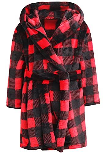 Kids Robe, Black and Red Fleece Bathrobe Plush Flannel Robe with Belt for Kids Girls, Red, US 4T, CN 110