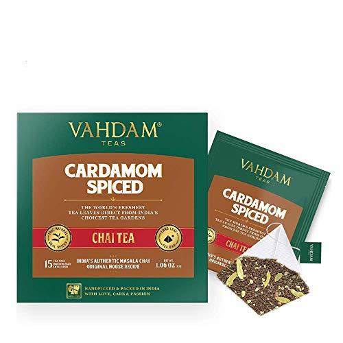Cardamom Bolsitas de té chai - 30 Pyramid Tea Bags - 100% NATURAL SHREDDED CARDAMOM...