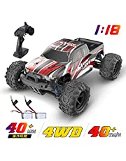 DEERC ラジコンカー オフロード 4WD 高速 40km/h こども向け RCカー 1/18 リモコンカー 2.4Ghz無線操作 四輪駆動 競技可能 レーシング 40分間走れ バッテリー2個付き 乗り越え抜群 おもちゃ 贈り物 9300