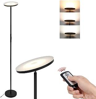Anten 20W Lámpara de pie LED regulable sin niveles con 3 temperaturas de color 3000-6000K, botón táctil, mando a distancia, función de memoria, foco de techo para oficina, salón, dormitorio etc.