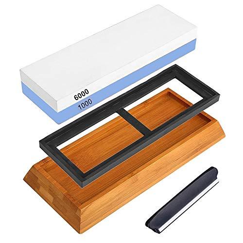 Piedra de Afilar Aceshop Afilador de Cuchillos Profesional 2-en-1 Grano 1000/6000 de Doble Cara Piedra de Afilar Cuchillos con Guía de ángulo Base de Bambú Antideslizante para Cuchillo de Chef Cocina