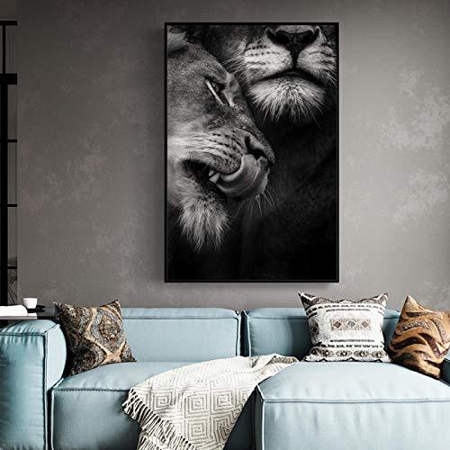 SHKJ Amante Salvaje Africano Leones Pinturas en Lienzo Carteles e Impresiones artísticos de Pared imágenes artísticas de Animales en Blanco y Negro decoración del hogar 60x80cm / 23.6'x31.5 Sin Marco