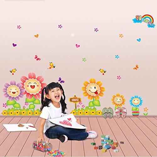 GWFVA Leuke Animated Cartoon Zonnebloem Muursticker Kwekerij Kwekerij Slaapkamer Decoratie Achtergrond Behang Autolijm Schilderen