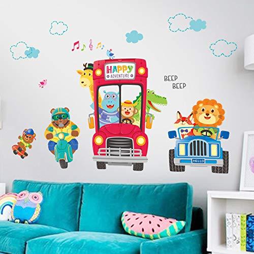 Cartoon Kinderkamer Jongen Slaapkamer Decoratie Auto Stickers Kleuterschool Indeling Kast Dierlijke Muur Sticker