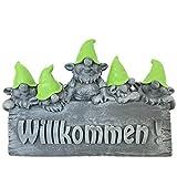 Süßes Willkommen Schild mit Wichteln - Gartenfiguren für außen - Gartenzwerg, Gnom, Troll (Grün)