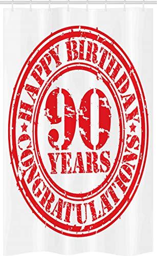 ABAKUHAUS 90ste Verjaardag Douchegordijn, Grunge Stamp 90, voor Douchecabine Stoffen Badkamer Decoratie Set met Ophangringen, 120 x 180 cm, rood Wit