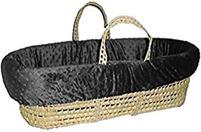 Baby Doll HeavenlyBedding Soft Moses Basket, Charcoal Grey
