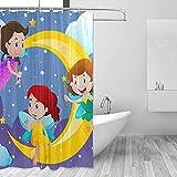 GABRI DREI Feen fliegen über den Mond Duschvorhang Set für Home Polyester wasserdichtes Stoff Badezimmer mit Haken 36x72 inch
