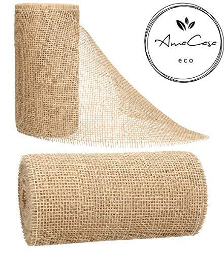 AmaCasa Eco Tischläufer Jute 20cm breit, 10m Rolle | gestärkter Jutestreifen mit kompostierbarem Etikett | Tischband für Tischband für wundervolle Dekorationen in vielen Farben (Natur, 20cm/10m)