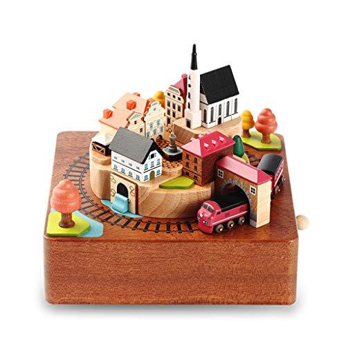 HEG-scatola musicale Carillon Treno Autunnale in Legno Coppia Treno Carillon Tanabata San Valentino...