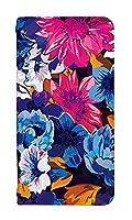 [Galaxy Note20 Ultra 5G SC-53A] スマホケース 手帳型 sc53a ケース ギャラクシーノート20 ウルトラ sc-53a/scg06 ケース 手帳 おしゃれ sc-53a カバー 人気 かわいい 和柄 花柄 フラワー デザイン 0024-B. ブルーパープル和花 スマートフォン 手帳型ケース Samsung サムスン ベルトなし スマホゴ