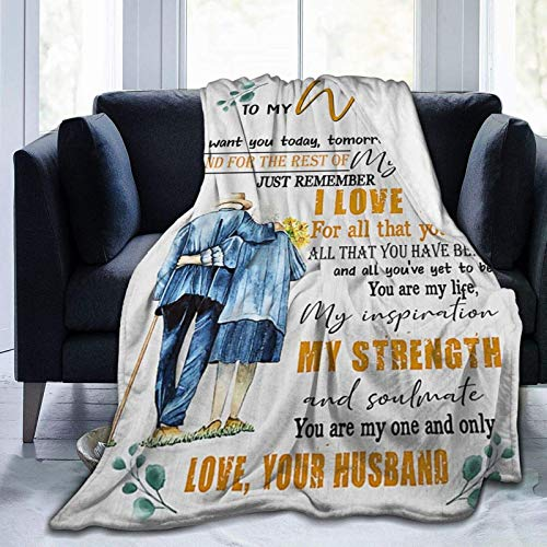 Throw Blanket to My Wife Romantic Comfortable Flannel Blanket Ultra-Plush Breathable Warm Throw Lightweight for Home Couch Bed Sofa Chair Outdoor for All Season Gift 60'x50'