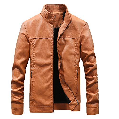 Chaqueta de cuero para motocicleta de cuello alto para hombre, talla grande, de manga larga, de piel sintética