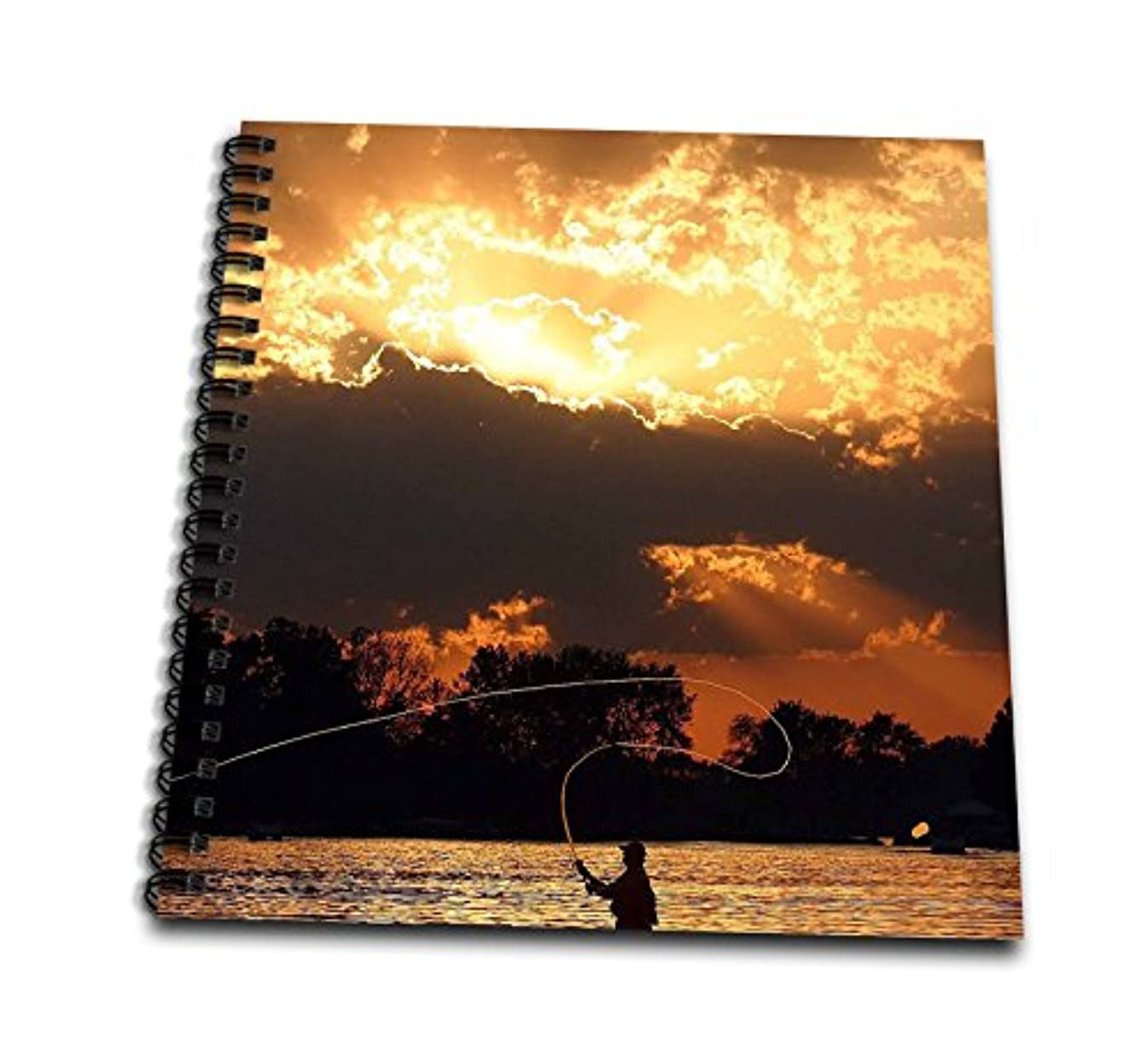 3dRose db_23788_2 Fly Fishing at Sunset Memory Book, 12 by 12-Inch