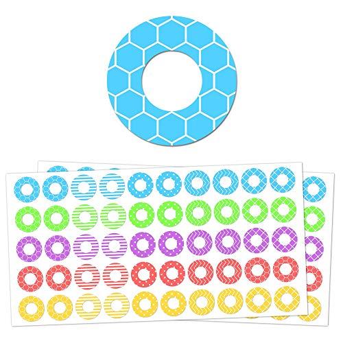 2000 Stück, Verstärkungsringe Lochverstärker Etiketten Aufkleber Selbstklebend - 20 verschiedene Designs