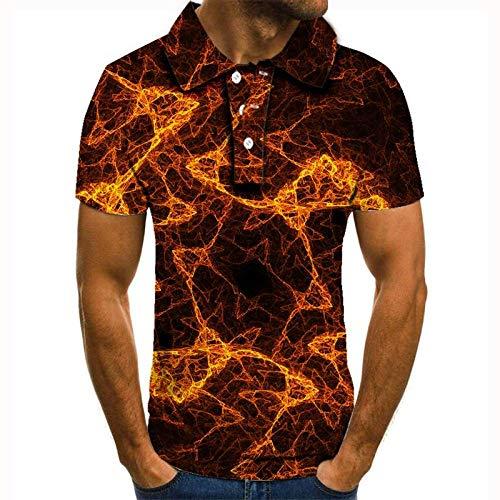 HHSW 3D-Gedrucktes Herren-Kurzarmhemd,Gelbe Lava Slim-Fit Kurze Ärmel Tipping Polo Shirt, Personalisierte Casual Komfort Mode T-Shirt, Geeignet Für Jeden Anlass, 2XL