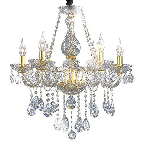 Pendelleuchte Modern Kristalllüster Wohnzimmer Esszimmer Kronleuchter Deckenleuchte Transparent Glas Kerzenleuchter Beleuchtung Lüsterlampe 6 Armen