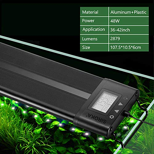 SIROKA IP68 Waterproof LED Aquarium Fish Tank Light Colors Change 24/7 Simulate Sunrise&Sunset Luminous Mode Fish Tank Controller (90CM)